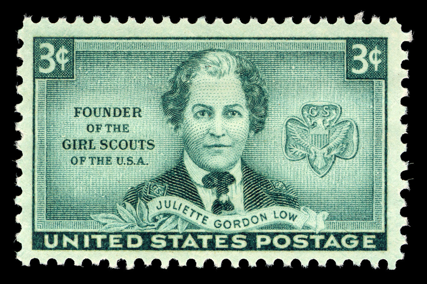 United States postage stamp showing the trefoil badge and Juliette Gordon Low in a Girl Scout uniform.