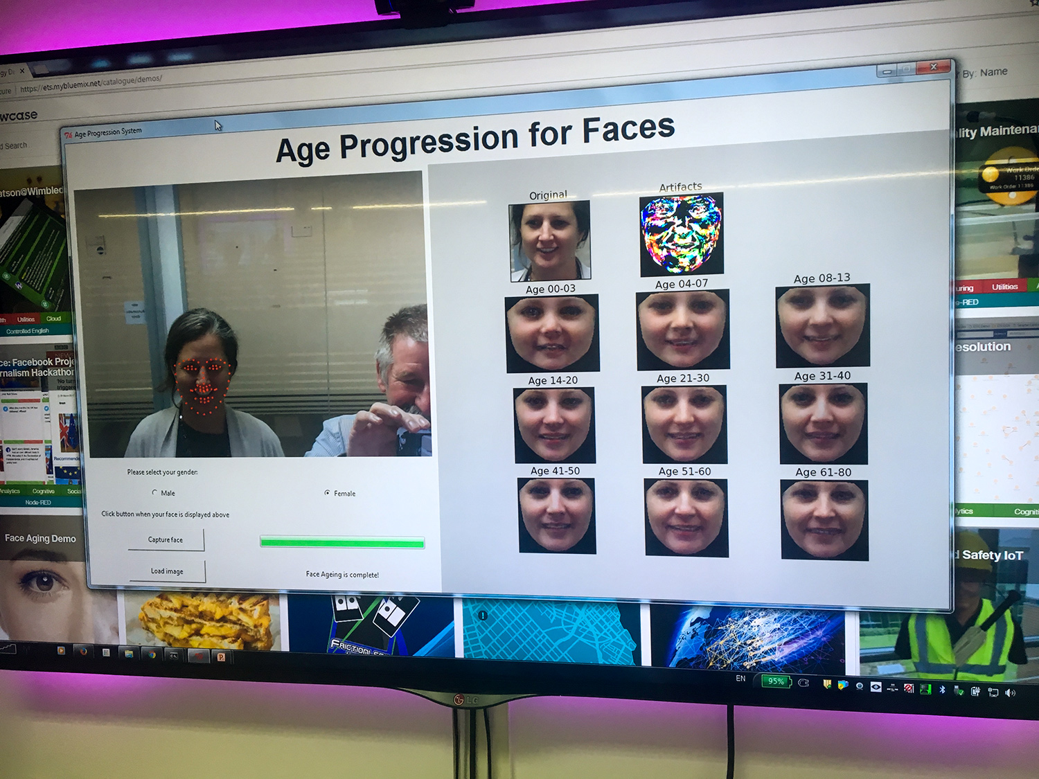 Picture of a computer screen with age progression program open, displaying Susann Keohanes picture and pictoral artifacts and program simulation of her appearance in all of age ranges from 0-3, 4-7, 8-13, 14-20, 21-30, 31-40, 41-50, 51-60, & 61-80.