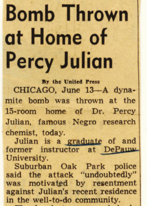 Newspaper clipping with a headline that reads: Bomb Thrown at Home of Percy Julian.