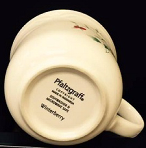 Pfaltzgraff specimen shows trademark use for mugs. The specimen is a photograph showing the trademark printed on the bottom of a mug.