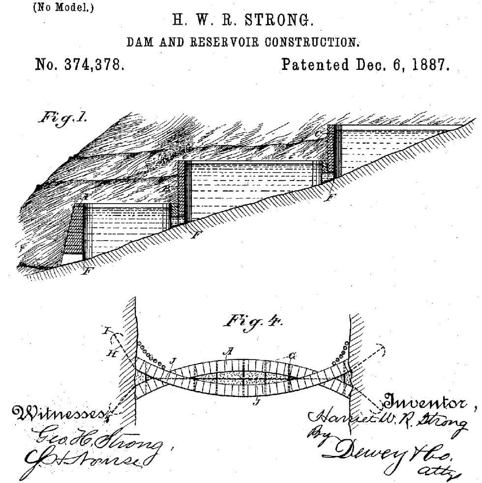 Image: Harriet Strong's patent for Dam and Reservoir Construction, issued in 1887. Strong ultimately became the named inventor on five U.S. patents