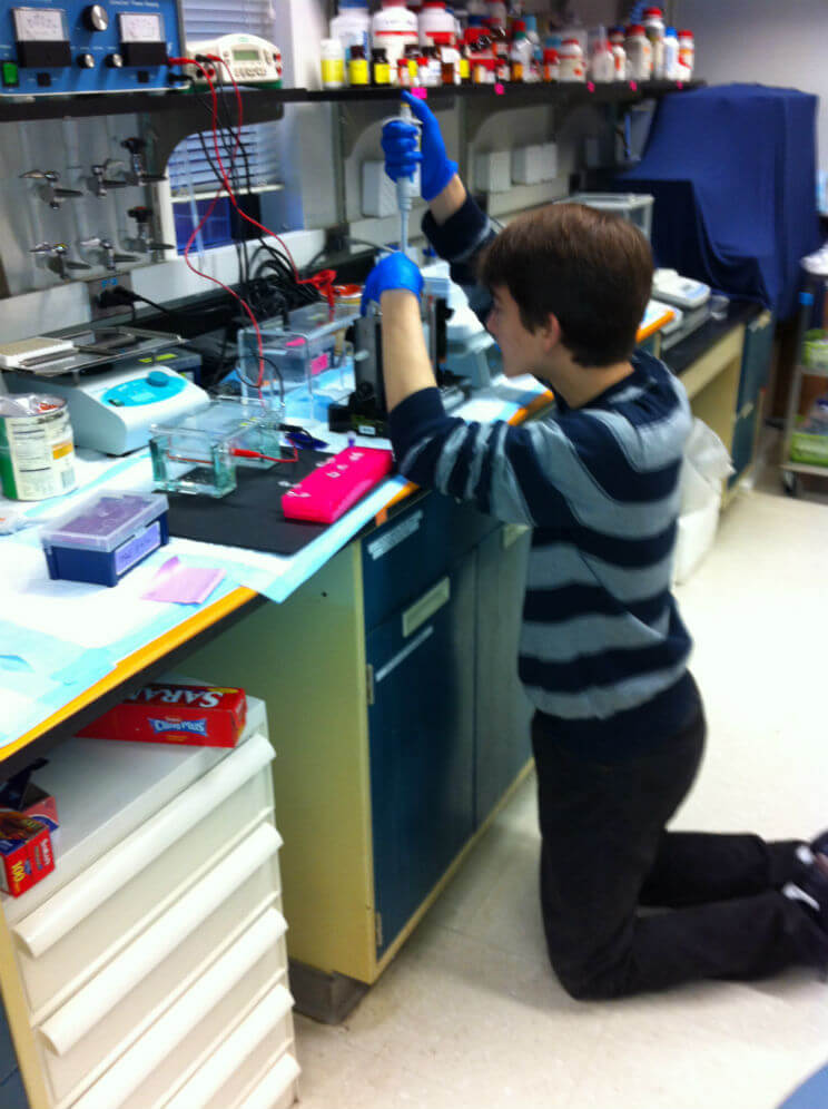 Image: Dr. Buhimschi's son Alex assisting in the lab