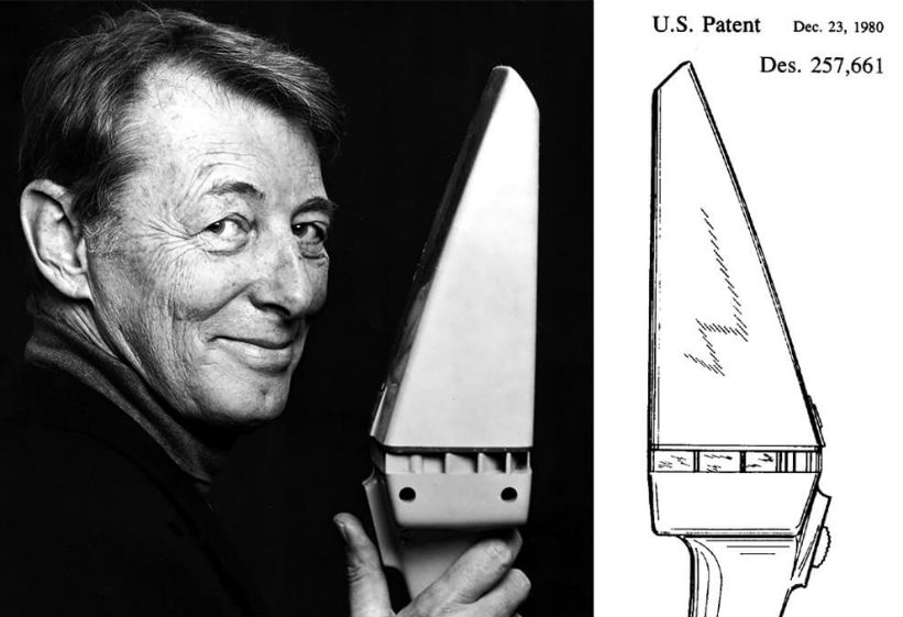 Portrait of lead designer of the Dustbuster (R) Carol Gantz, and the patent drawing for the Dustbuster