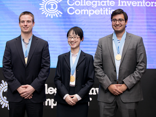 Collegiate Inventors Competition winners: left to right: Matthew Rooda, Ning Mao, and Abraham Espinoza.