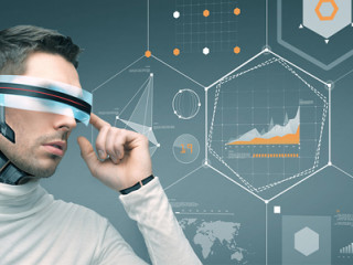 Futuristic image of man wearing glasses representing innovation