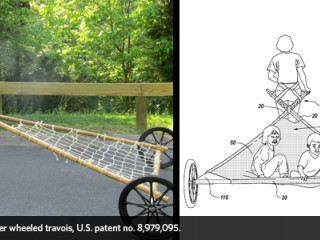 Alexis Lewis and her wheeled travois, US Patent number 8,979,095 represented as the manufactured product and the drawing