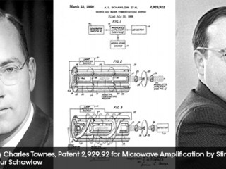 Portraits of Charles Townes and Arthur Schawlow and the patent application drawing of US Patent number 2,929,922 for the Microwave Amplification by Stimulated Emission of Radiation