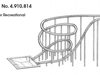 US Patent Number 4,910,814 of the Splash Pool for Recreational Waterslides drawing