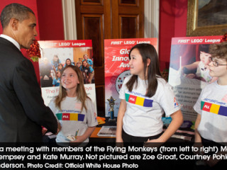 President Obama meeting with members of the Flying Monkey's FIRST LEGO League Team