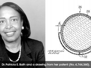 Dr. Patricia E. Bath and her drawing from her patent number 4,744,360 of a method and apparatus of removing cataracts