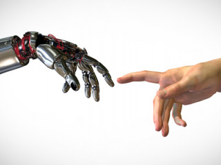 Robot hand reaching out to human hand