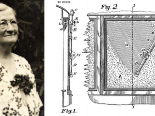 Portrait of Mary Anderson and her patent the windshield wipers