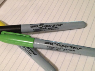 "Black, yellow and Green ""Super Superstar"" Permanent Markers"