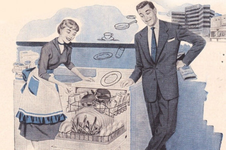 Image: 1950s KitchenAid illustrated advertisement of a housewife and husband excitedly admiring their new dishwasher. I the top right, dishes magically float from a hospital and industrial dishwasher into their household dishwasher.