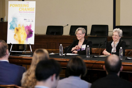 Image: Irina Buhimschi and Cherry Murray speak on a panel at the US Capitol on empowering women