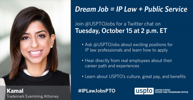 Join @usptojobs for a Twitter chat October 15 at 2pm ET