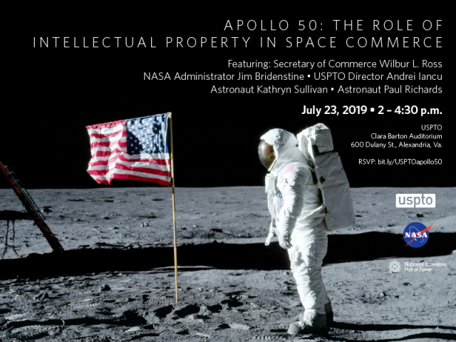 some text in white font; image of American flag and man in space suit on the moon