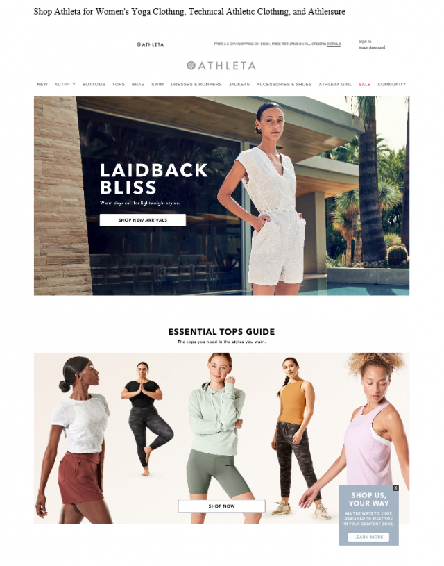 Example of an incorrect webpage specimen. This example shows a print view of the Athleta store webpage without showing the URL or date the webpage was accessed.