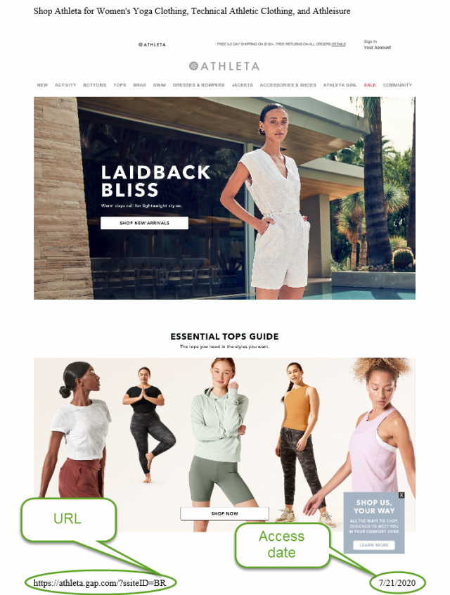 Example of a correct webpage specimen. This example shows a print view of the Athleta store webpage with the URL or date the webpage was accessed.