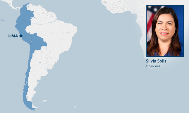 Map of South America with Peru highlighted and photo of IP Attache Solis
