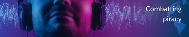Combatting piracy against the background of a person listening to music with earphones showing digital music flowing into them.