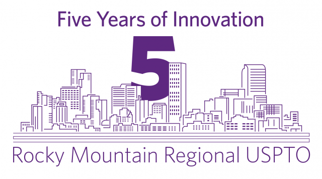 "purple text and graphic on a white background; ""Five Years of Innovation"" ""5"" ""Rocky Mountain Regional USPTO"""
