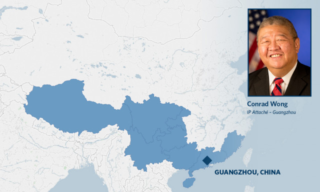 Map of Guangzhou IP attache territory with photo of Conrad Wong