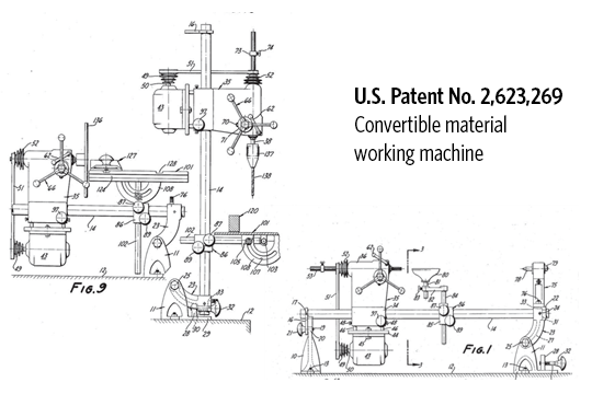 U.S. Patent No. 2,623,269 Convertible material working machine