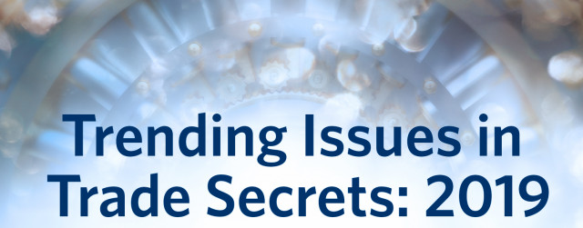 Blue banner of Trending issues in Trade Secrets: 2019 conference