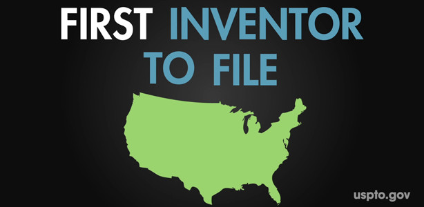 "Map of the USA with the text ""First Inventor to File"" above it"