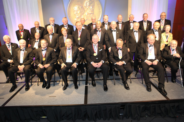 National Inventors Hall of Fame Class of 2013 with their awards