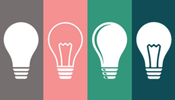 Lightbulbs of various colors representing networking