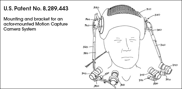 US Patent number 8,289,433 of Mounting and bracket for an actor-mounted Motion Capture Camera System