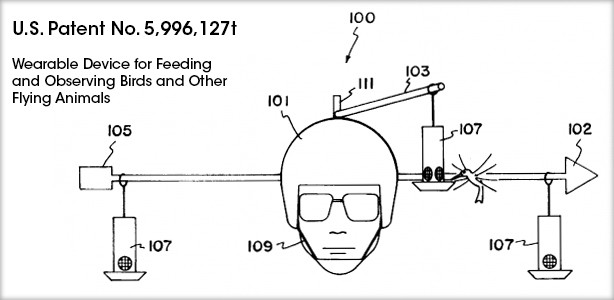 US Patent Number 5,996,127 of the Wearable Device for Feeding and Observing Birds and Other Flying Animals