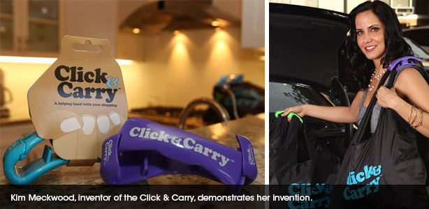 Kim Mechwood, the inventor of the Click and Carry demonstrating her device