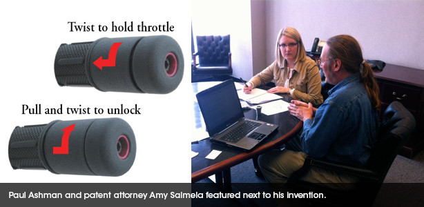 Inventor Paul Ashman and patent attorney Amy Salmela discussing his innovation of the throttle lock