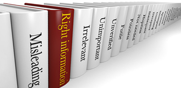"Different books in a line with titles such as ""Misleading"", ""Right Information"", and ""Irrelevant"""