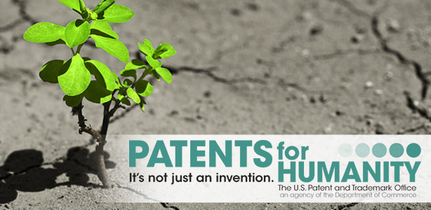 Plant growing in dry soil representing patents for humanity