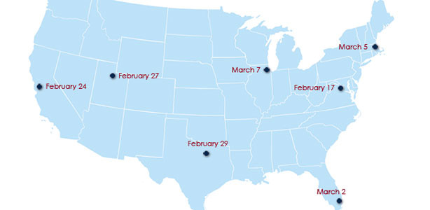 Map of the US with the different USPTO Regional Office locations and roadshow dates marked