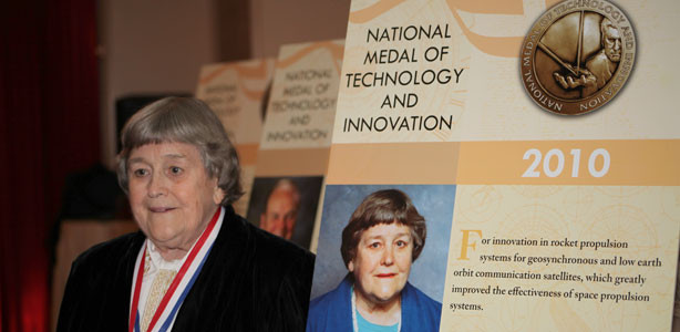 Inventor Yvonne Brill at the 2010 National Medal of Technology and Innovation dinner in Washington DC standing next to her poster