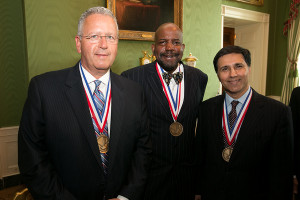 NMTI laureates Joseph DeSimone, Cato Laurencin, and Mark Humayun after the White House medal ceremony.