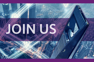 "Skyscraper in China against a purple background and the words ""Join Us"""