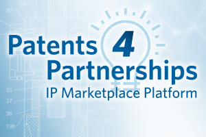 abstract graphic with text: Patents 4 Partnerships; IP Marketplace Platform