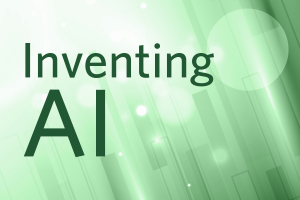Inventing AI, text on a green background.