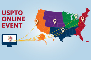 USPTO Online Event, with map of USPTO regional offices