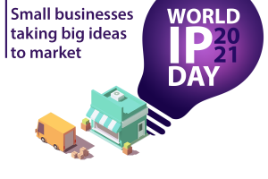 Illustration of Small Business Store Front and Delivery Van creating large shadow in shape of lightbulb for World Intellectual Property Day 2021: Small businesses taking big ideas to market.