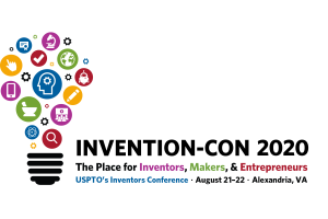 Light bulb with colorful icons. Text: Invention-Con 2020; The place for inventors, makers, & entrepreneurs. USPTO's inventor's conference. August 21-22. Alexandria, VA.