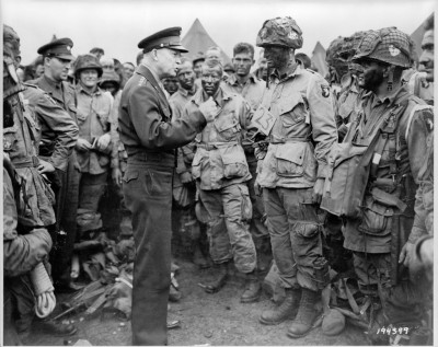 Image: General Eisenhower addresses troops from the 101st Airborne Division the day before the Normandy landings.