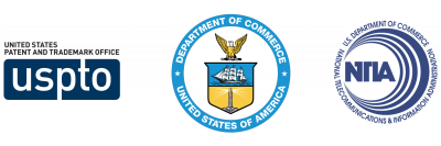 USPTO, Department of Commerce, and NTIA logos