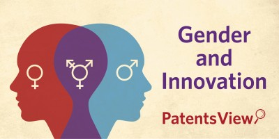 PatentsView's new feature on gender and innovation next to a silhouette of two overlapped heads. Female symbol on red head, male symbol on blue head. Overlapped head area is in purple with unisex symbol.